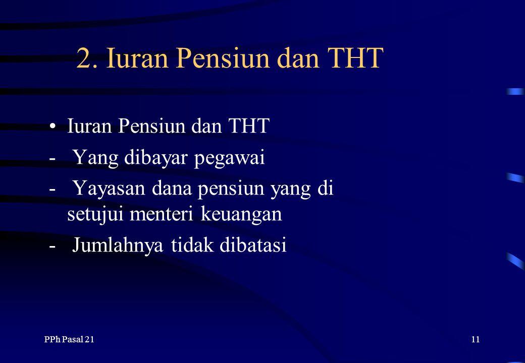 2. Iuran Pensiun dan THT Iuran Pensiun dan THT - Yang dibayar pegawai