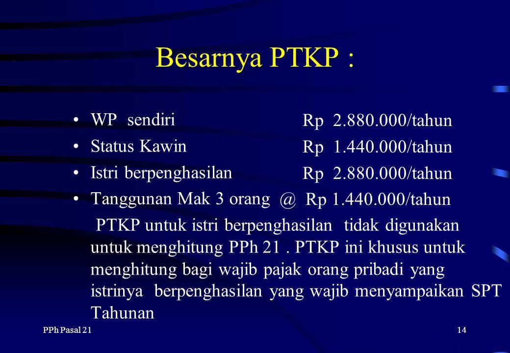 Besarnya PTKP : WP sendiri Rp 2.880.000/tahun Status Kawin