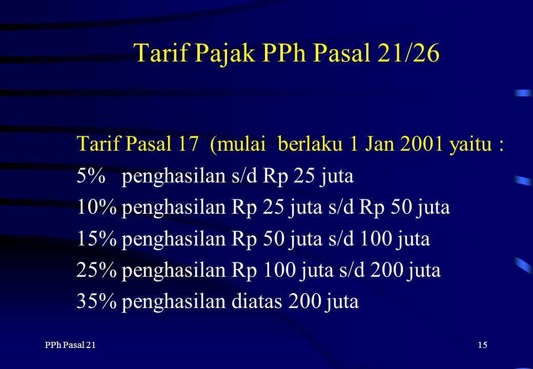 Tarif Pajak PPh Pasal 21/26 Tarif Pasal 17 (mulai berlaku 1 Jan 2001 yaitu : 5% penghasilan s/d Rp 25 juta.