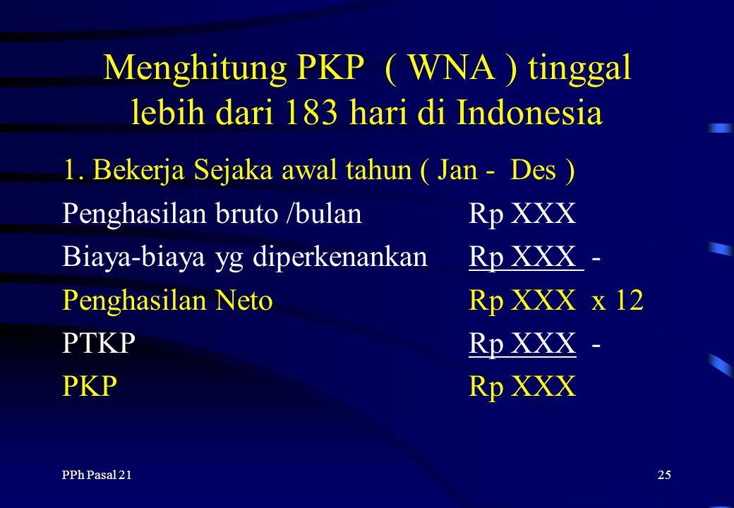 Menghitung PKP ( WNA ) tinggal lebih dari 183 hari di Indonesia