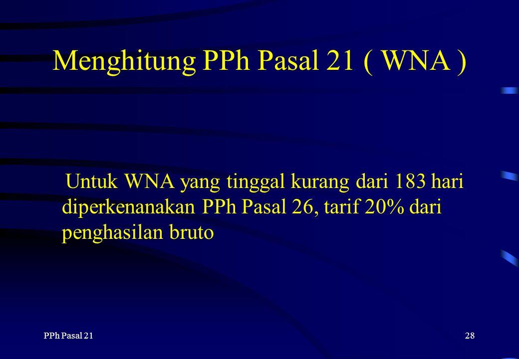 Menghitung PPh Pasal 21 ( WNA )