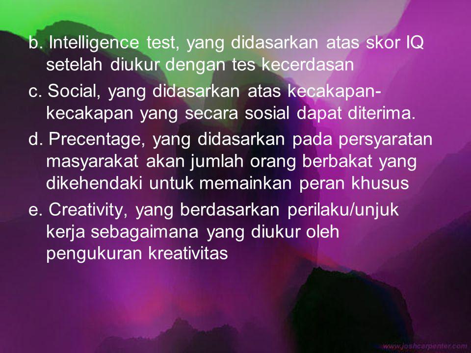 b. Intelligence test, yang didasarkan atas skor IQ setelah diukur dengan tes kecerdasan