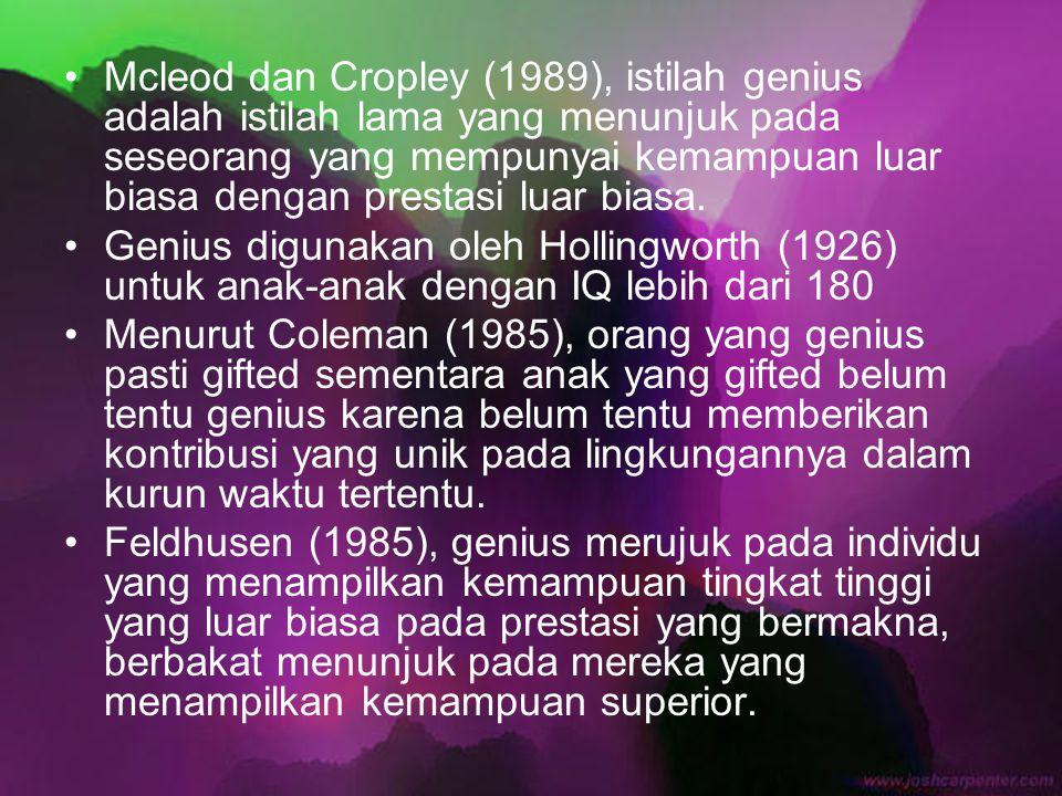 Mcleod dan Cropley (1989), istilah genius adalah istilah lama yang menunjuk pada seseorang yang mempunyai kemampuan luar biasa dengan prestasi luar biasa.