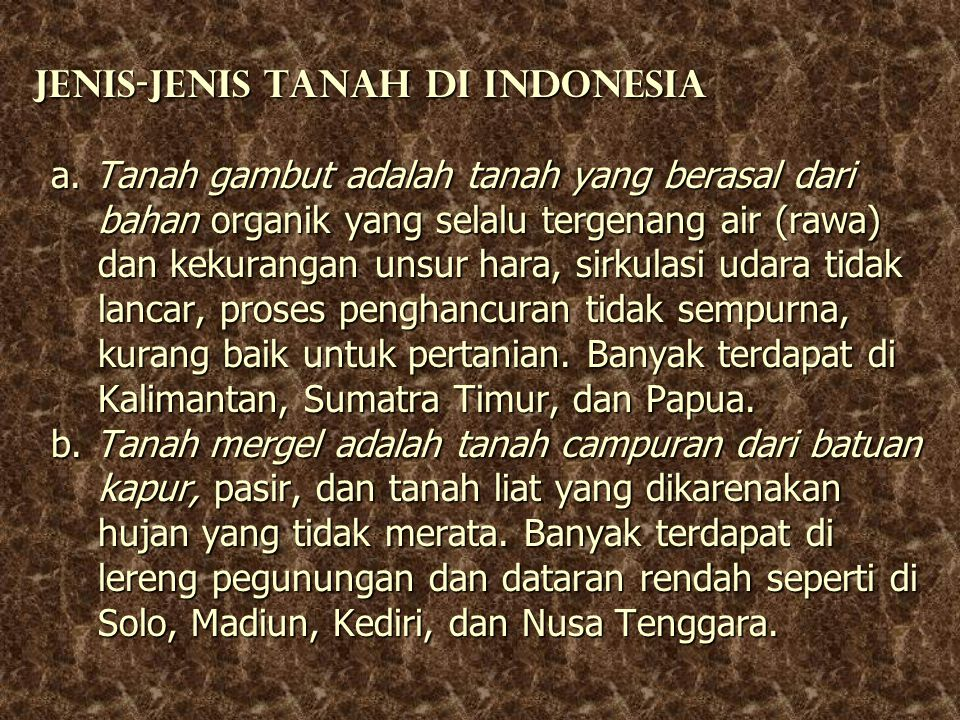 Jenis-jenis tanah di Indonesia a
