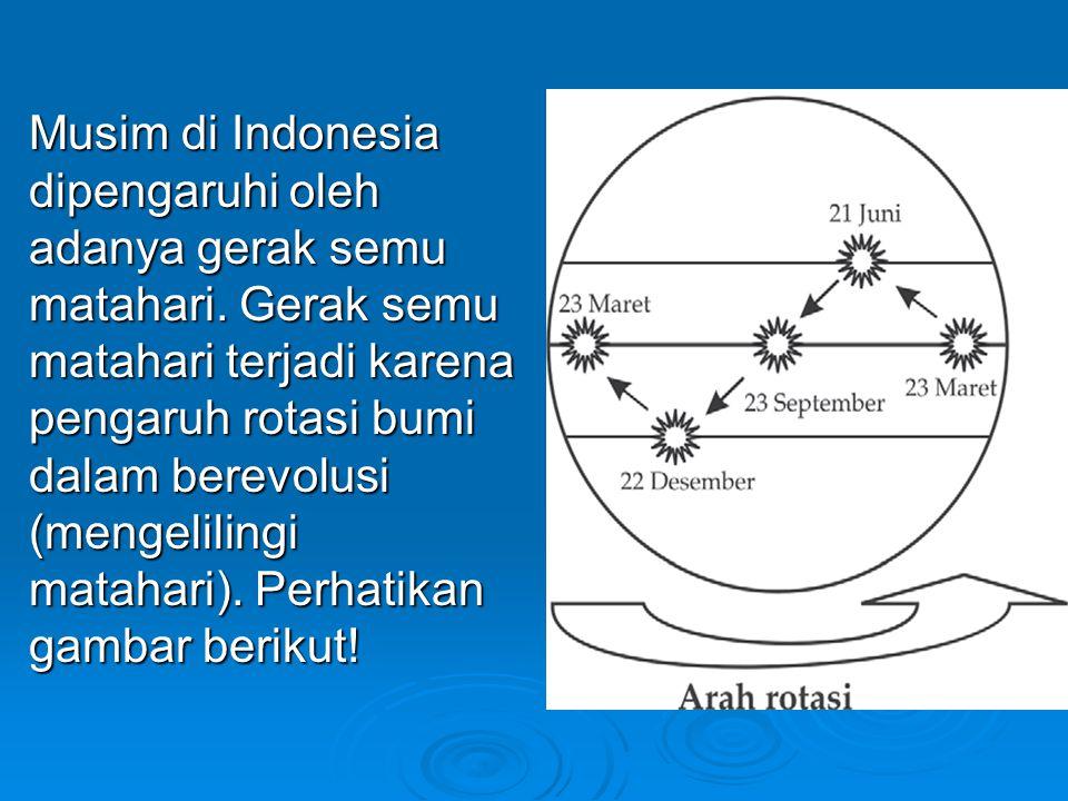 Musim di Indonesia dipengaruhi oleh adanya gerak semu matahari