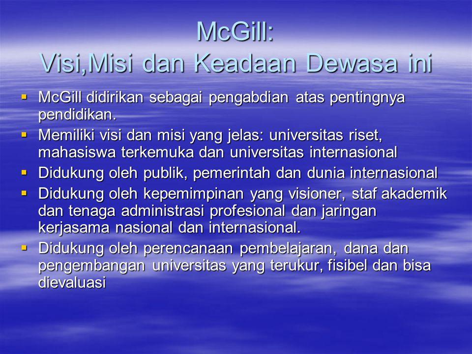 McGill: Visi,Misi dan Keadaan Dewasa ini