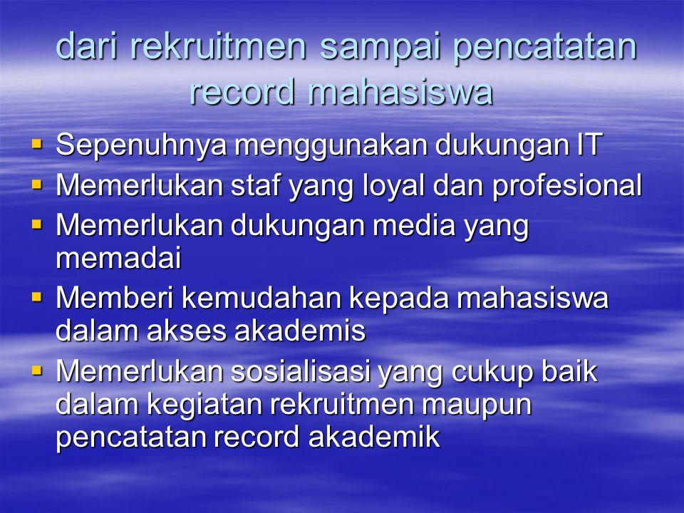 dari rekruitmen sampai pencatatan record mahasiswa