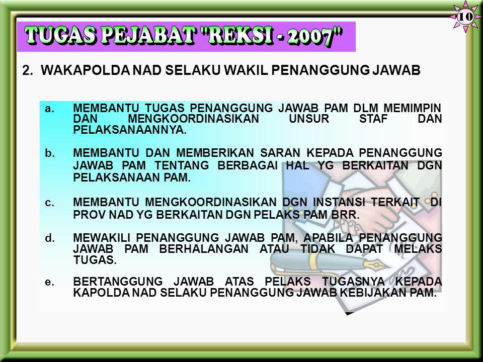10 TUGAS PEJABAT REKSI - 2007 2. WAKAPOLDA NAD SELAKU WAKIL PENANGGUNG JAWAB.