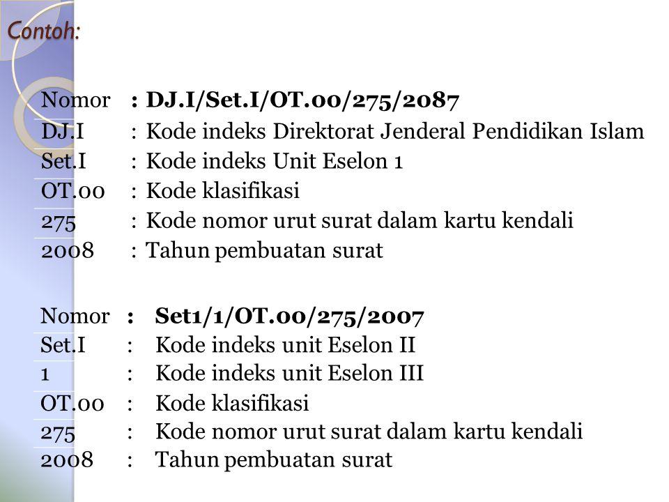 Contoh: Nomor : DJ.I/Set.I/OT.00/275/2087 DJ.I