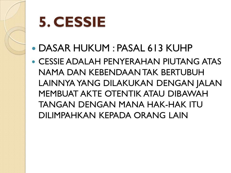 5. CESSIE DASAR HUKUM : PASAL 613 KUHP