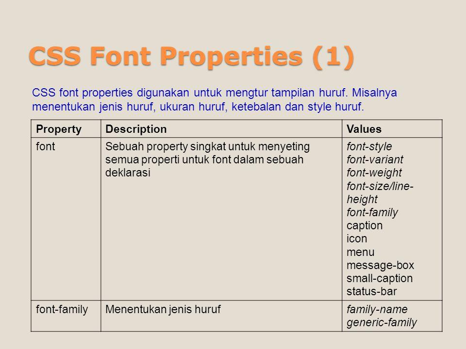 CSS Font Properties (1)