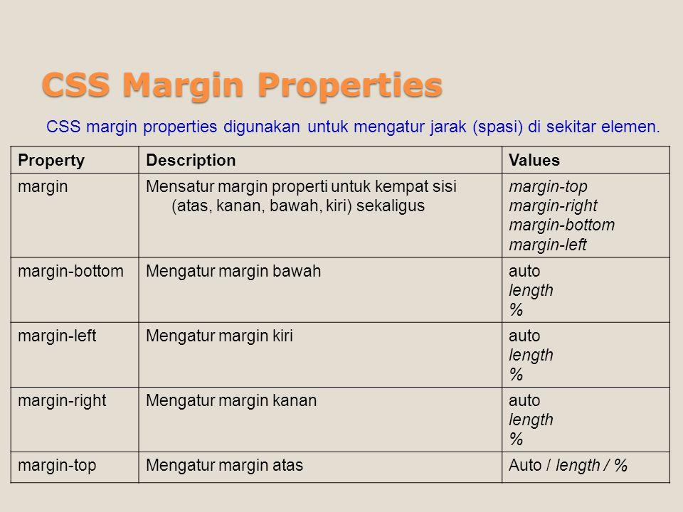 CSS Margin Properties CSS margin properties digunakan untuk mengatur jarak (spasi) di sekitar elemen.