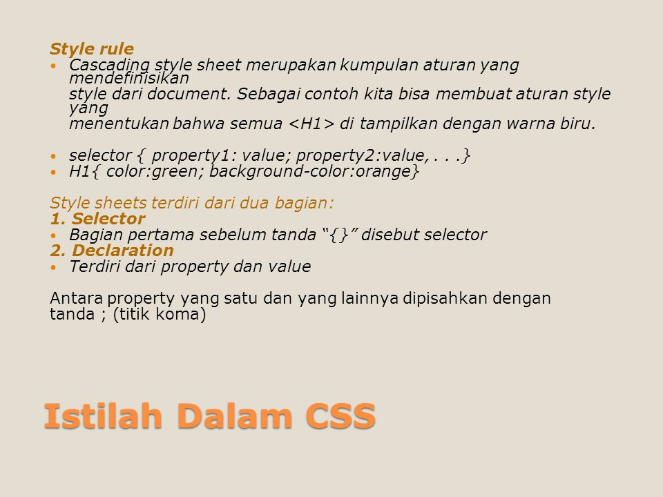 Istilah Dalam CSS Style rule