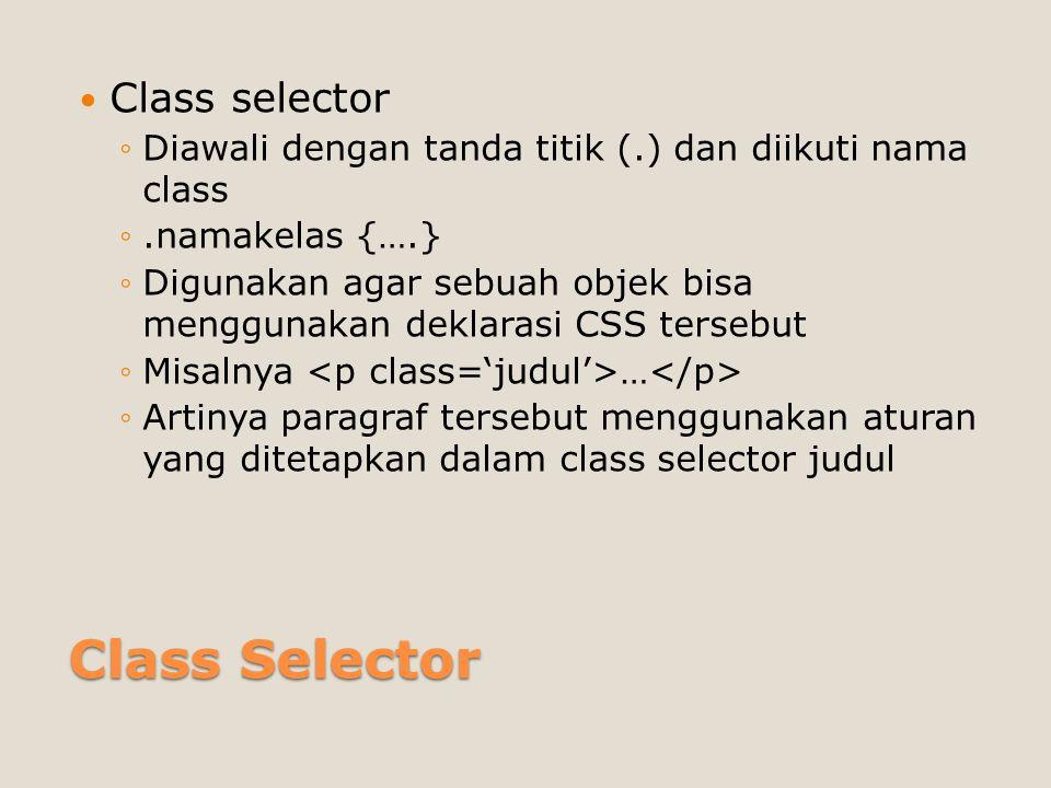 Class Selector Class selector
