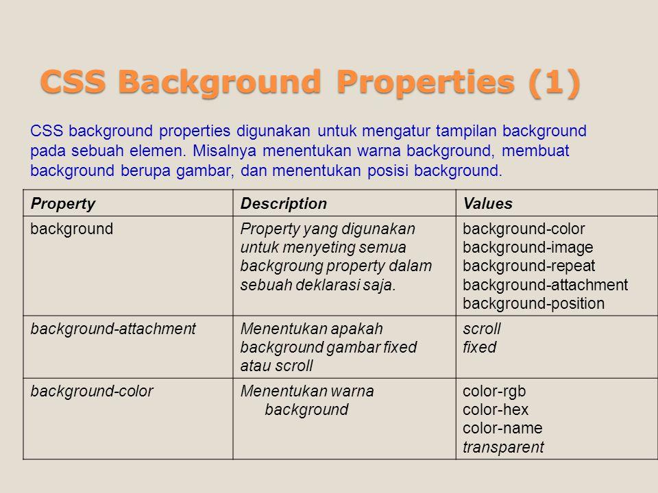CSS Background Properties (1)
