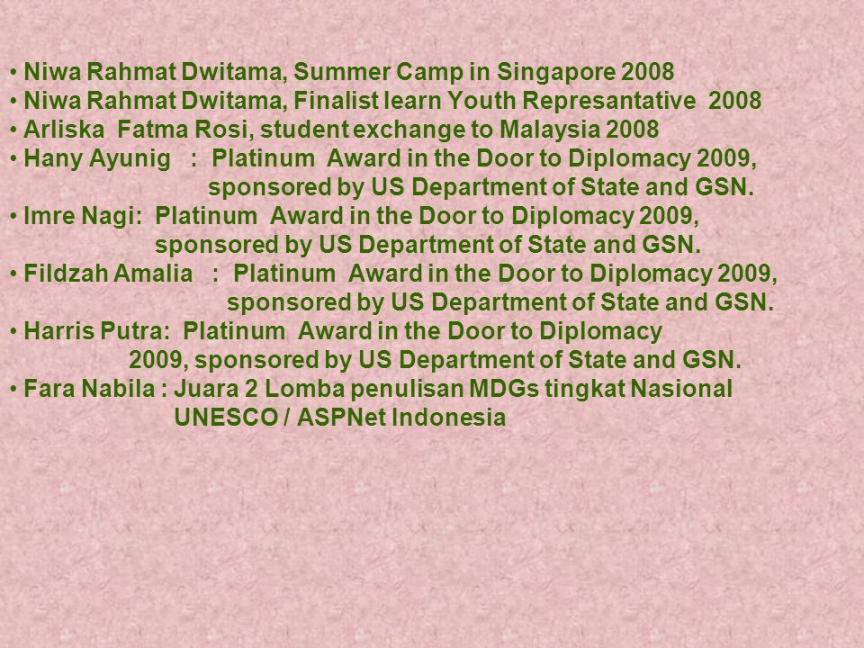 Niwa Rahmat Dwitama, Summer Camp in Singapore 2008