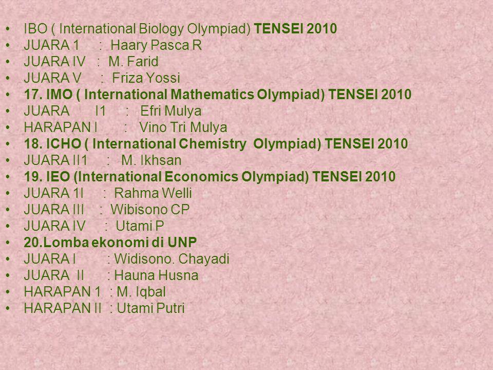 IBO ( International Biology Olympiad) TENSEI 2010