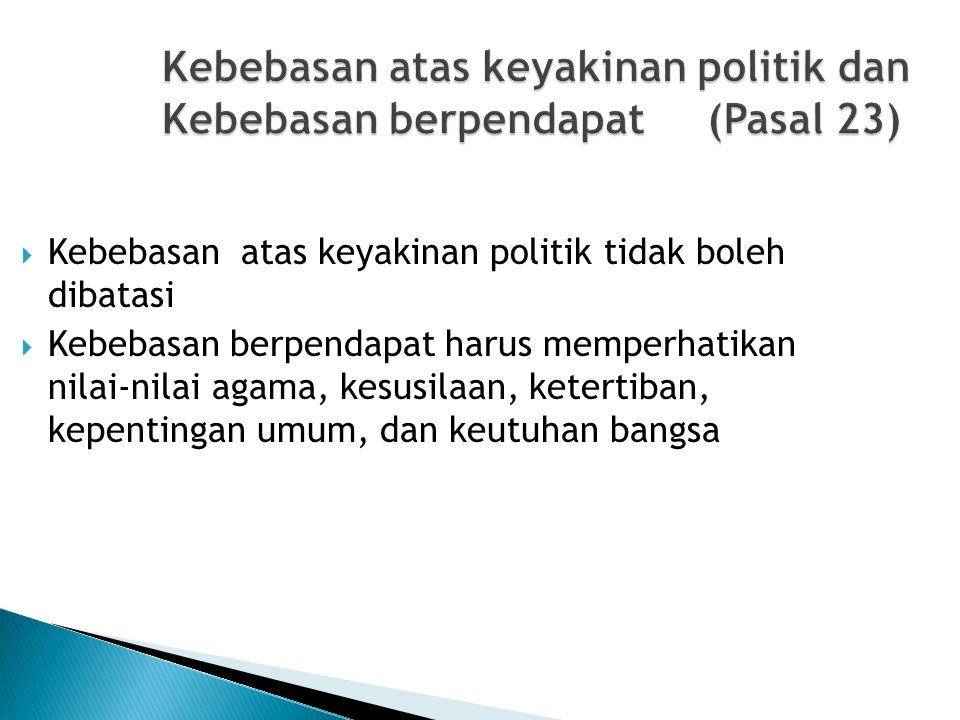 Kebebasan atas keyakinan politik dan Kebebasan berpendapat (Pasal 23)