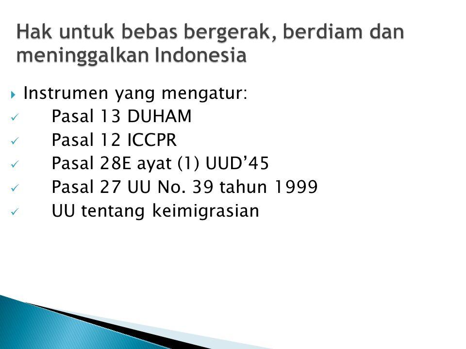 Hak untuk bebas bergerak, berdiam dan meninggalkan Indonesia