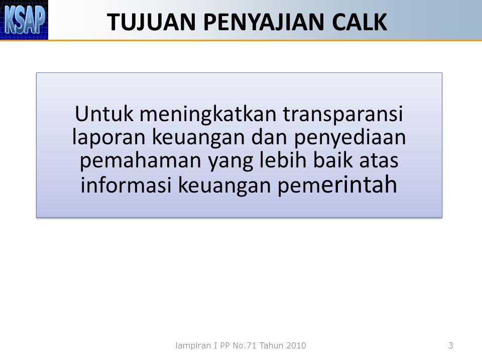 TUJUAN PENYAJIAN CALK Untuk meningkatkan transparansi laporan keuangan dan penyediaan pemahaman yang lebih baik atas informasi keuangan pemerintah.