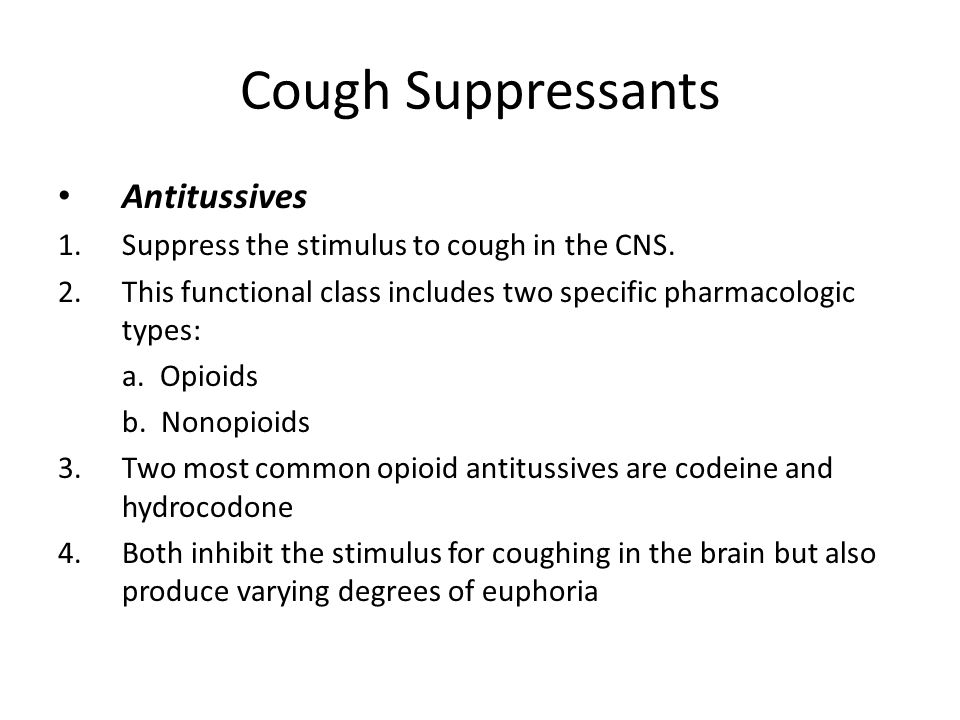 Cough Suppressants Antitussives