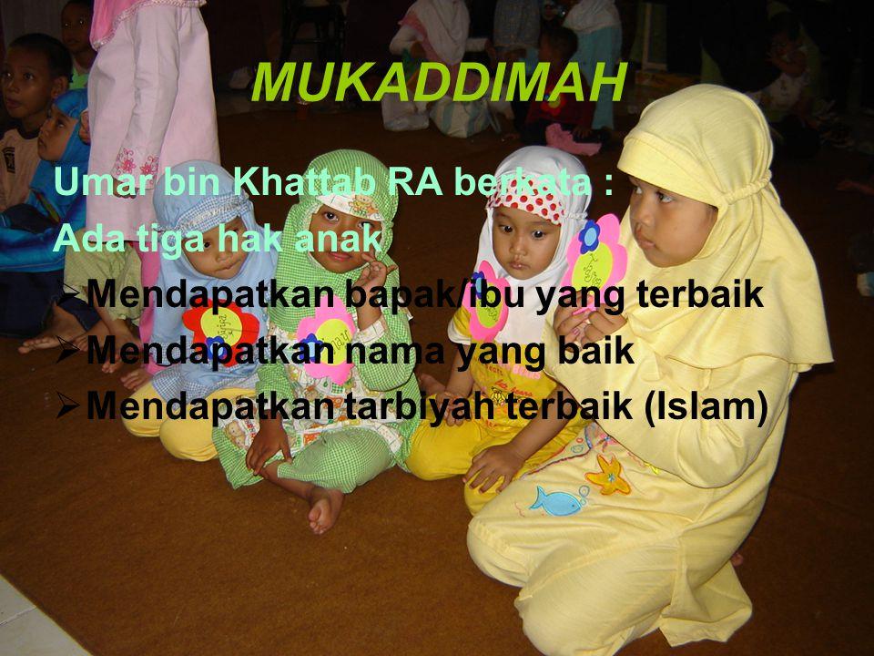 MUKADDIMAH Umar bin Khattab RA berkata : Ada tiga hak anak