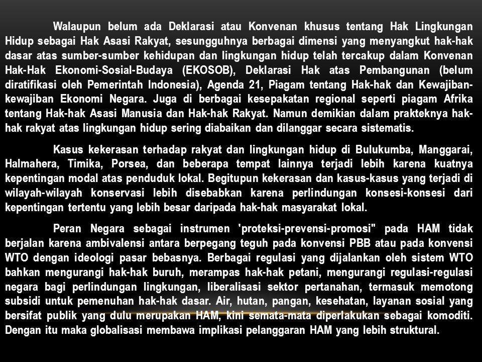 Walaupun belum ada Deklarasi atau Konvenan khusus tentang Hak Lingkungan Hidup sebagai Hak Asasi Rakyat, sesungguhnya berbagai dimensi yang menyangkut hak-hak dasar atas sumber-sumber kehidupan dan lingkungan hidup telah tercakup dalam Konvenan Hak-Hak Ekonomi-Sosial-Budaya (EKOSOB), Deklarasi Hak atas Pembangunan (belum diratifikasi oleh Pemerintah Indonesia), Agenda 21, Piagam tentang Hak-hak dan Kewajiban- kewajiban Ekonomi Negara. Juga di berbagai kesepakatan regional seperti piagam Afrika tentang Hak-hak Asasi Manusia dan Hak-hak Rakyat. Namun demikian dalam prakteknya hak- hak rakyat atas lingkungan hidup sering diabaikan dan dilanggar secara sistematis.