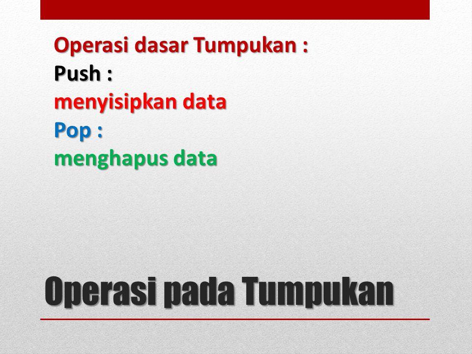 Operasi pada Tumpukan Operasi dasar Tumpukan : Push : menyisipkan data