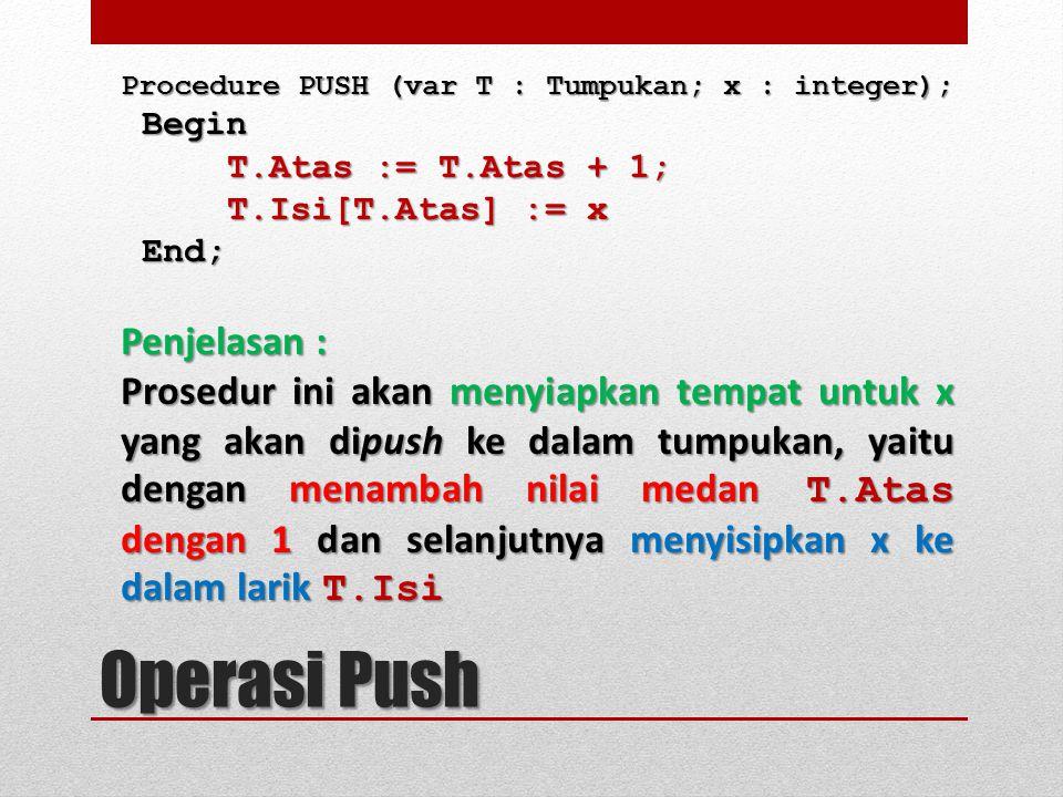 Operasi Push Penjelasan :