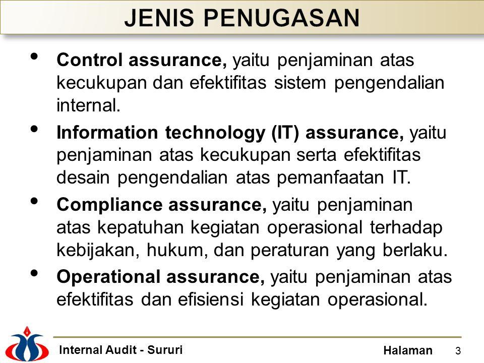 JENIS PENUGASAN Control assurance, yaitu penjaminan atas kecukupan dan efektifitas sistem pengendalian internal.