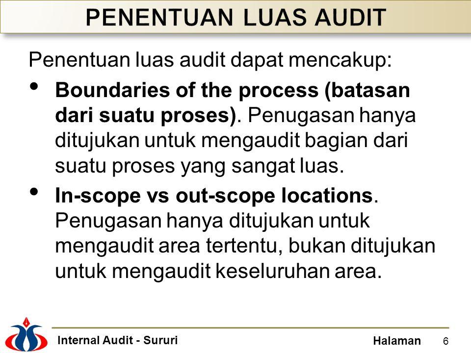 PENENTUAN LUAS AUDIT Penentuan luas audit dapat mencakup: