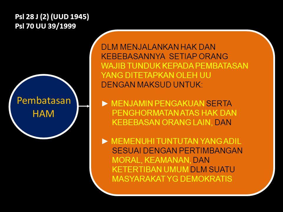 Pembatasan HAM Psl 28 J (2) (UUD 1945) Psl 70 UU 39/1999
