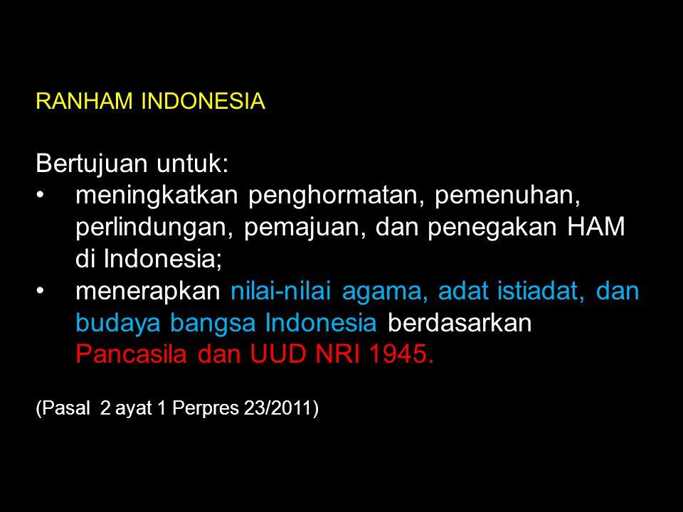 RANHAM INDONESIA Bertujuan untuk: meningkatkan penghormatan, pemenuhan, perlindungan, pemajuan, dan penegakan HAM di Indonesia;