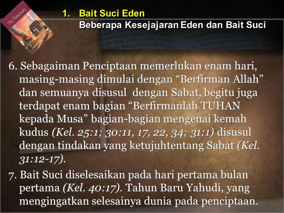 1. Bait Suci Eden Beberapa Kesejajaran Eden dan Bait Suci