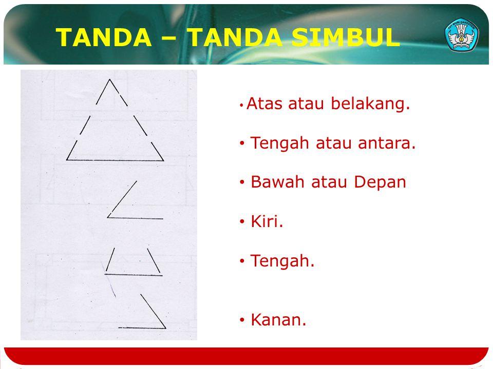 TANDA – TANDA SIMBUL Tengah atau antara. Bawah atau Depan Kiri.