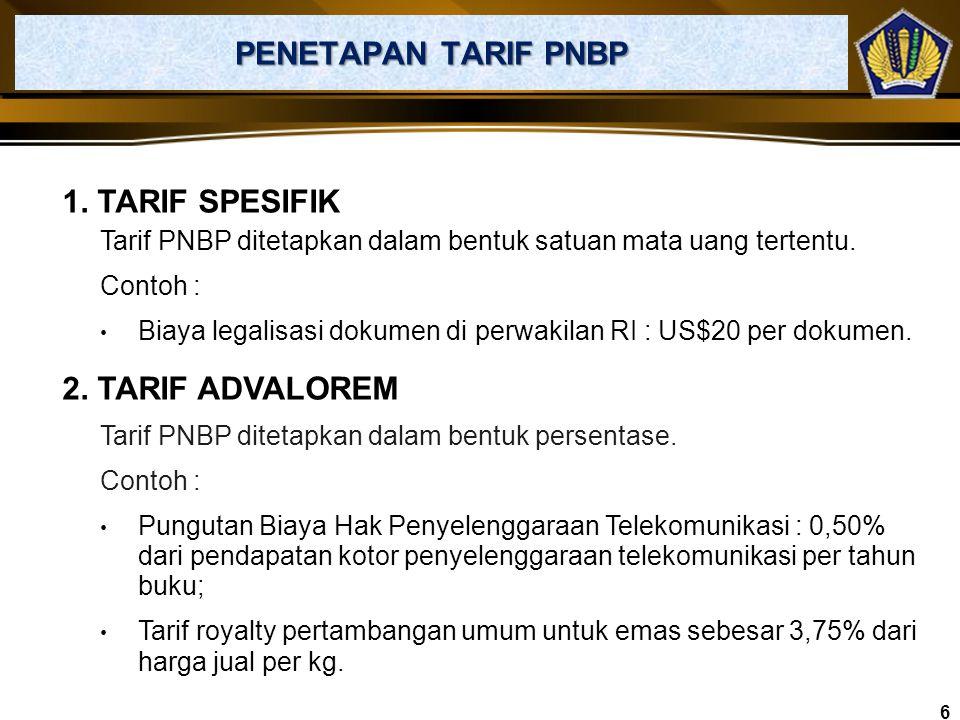 PENETAPAN TARIF PNBP 1. TARIF SPESIFIK 2. TARIF ADVALOREM
