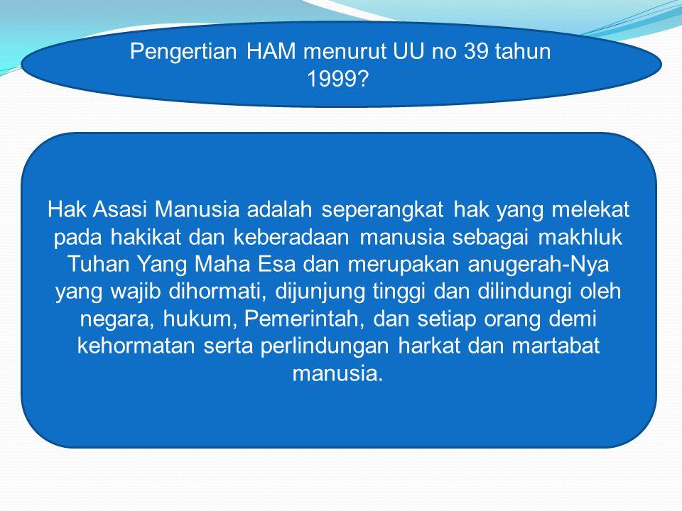 Pengertian HAM menurut UU no 39 tahun 1999