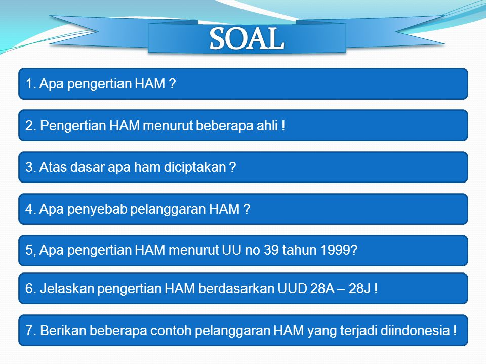 SOAL 1. Apa pengertian HAM 2. Pengertian HAM menurut beberapa ahli !