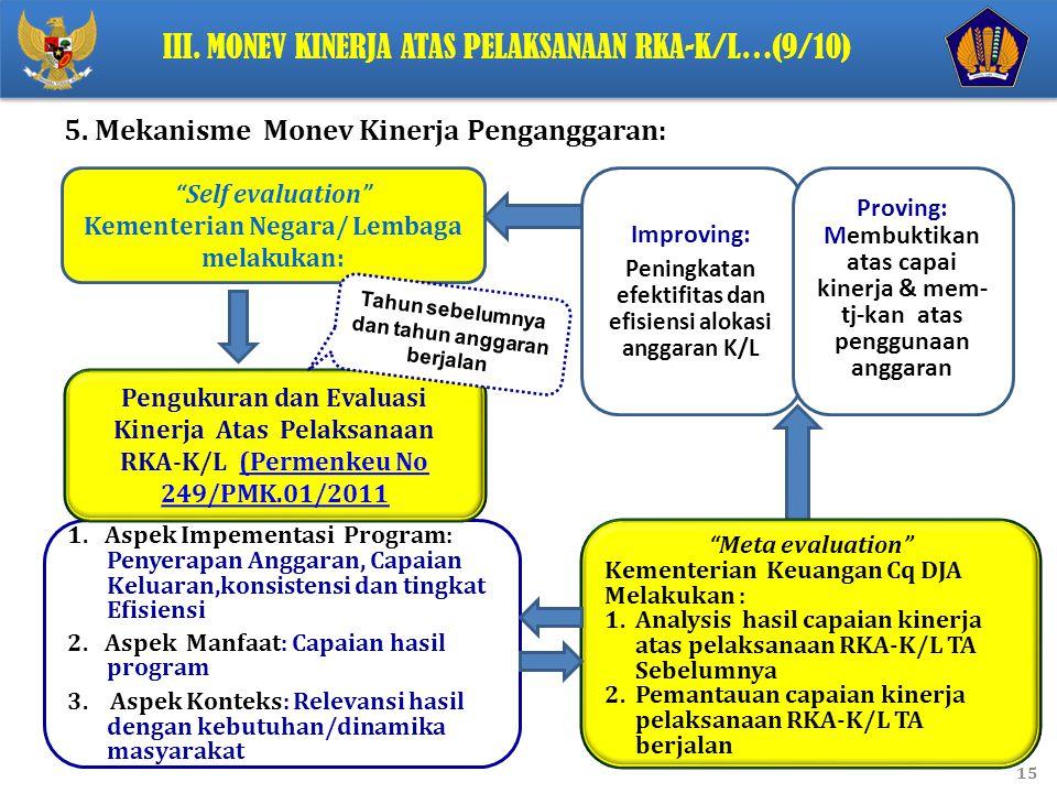 III. Monev Kinerja Atas Pelaksanaan RKA-K/L…(9/10)