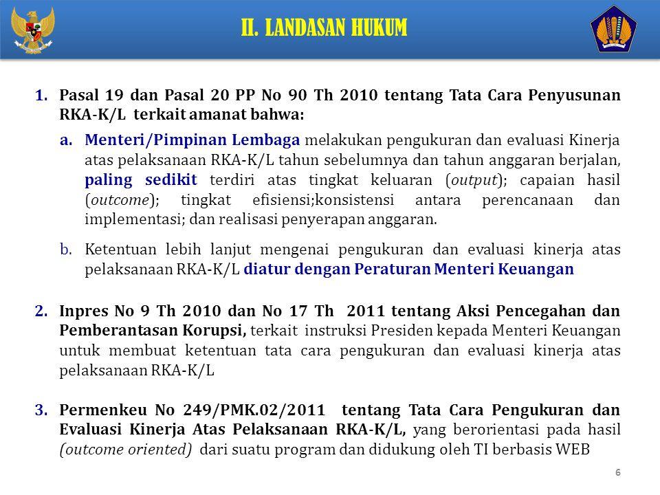 II. Landasan Hukum Pasal 19 dan Pasal 20 PP No 90 Th 2010 tentang Tata Cara Penyusunan RKA-K/L terkait amanat bahwa: