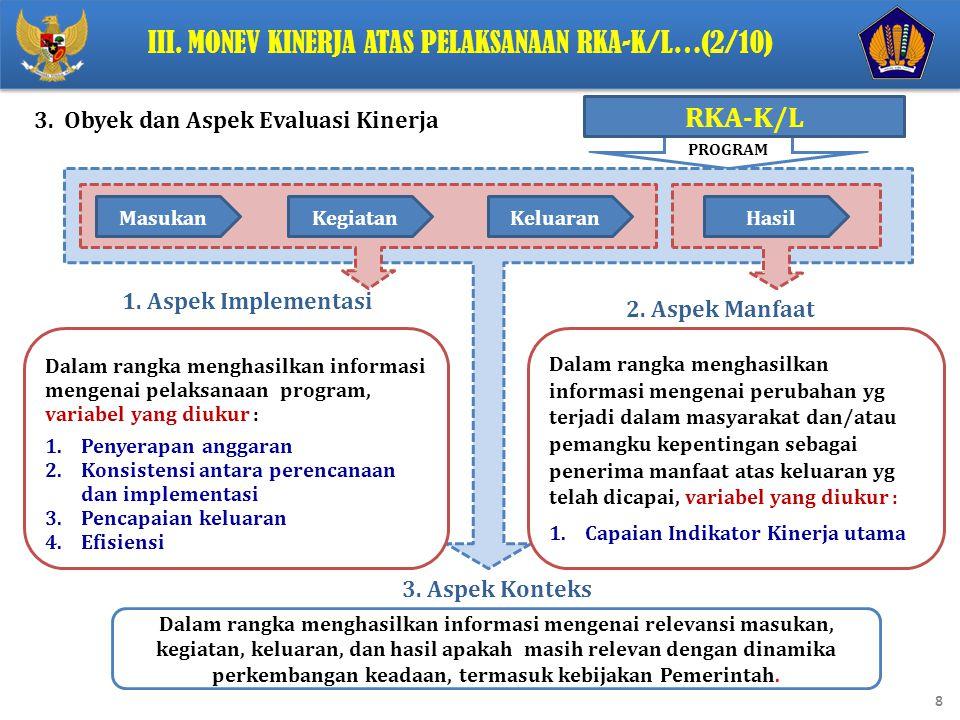 III. Monev Kinerja Atas Pelaksanaan RKA-K/L…(2/10)