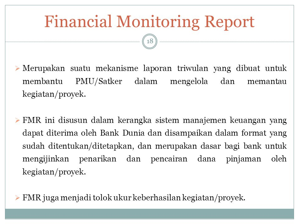 Financial Monitoring Report
