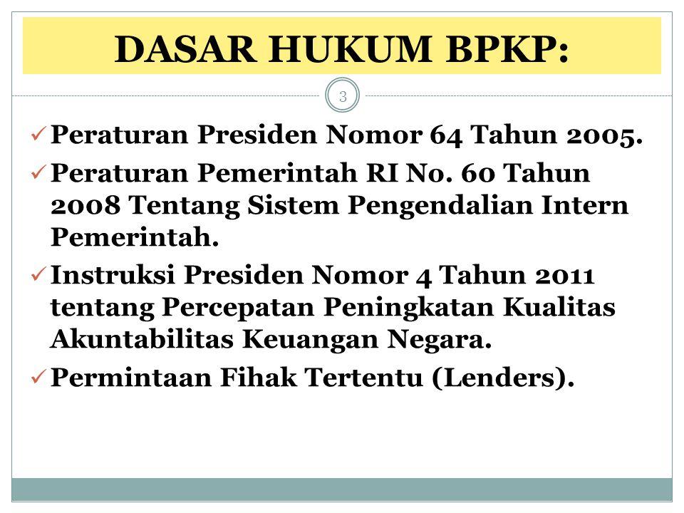 DASAR HUKUM BPKP: Peraturan Presiden Nomor 64 Tahun 2005.