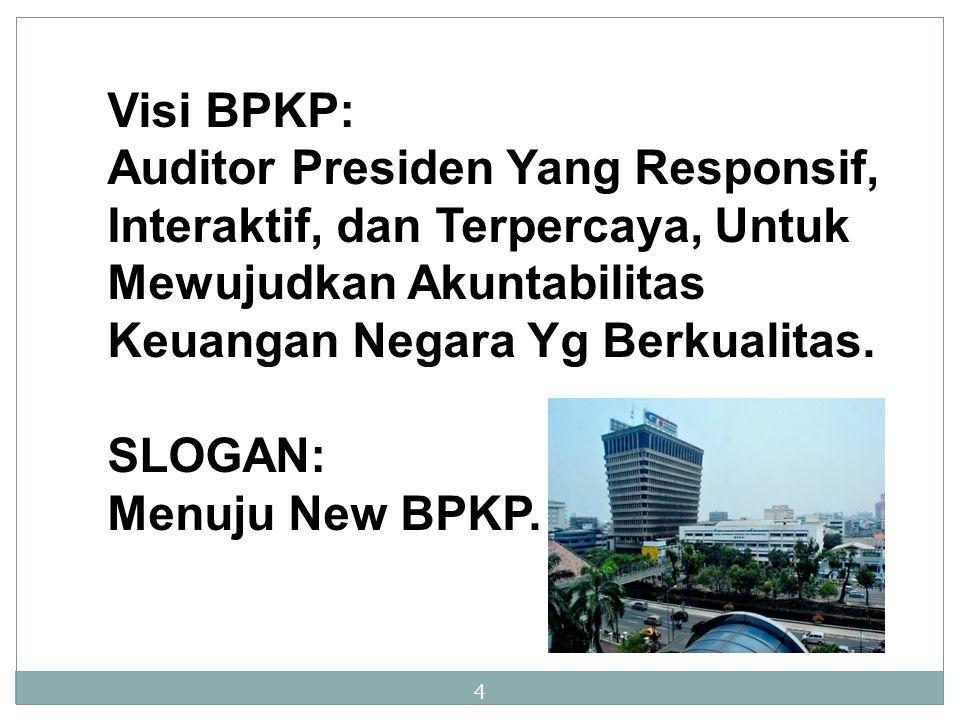 Visi BPKP: Auditor Presiden Yang Responsif, Interaktif, dan Terpercaya, Untuk Mewujudkan Akuntabilitas Keuangan Negara Yg Berkualitas.