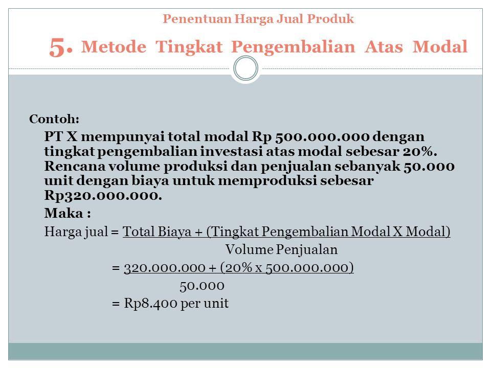 Penentuan Harga Jual Produk 5. Metode Tingkat Pengembalian Atas Modal