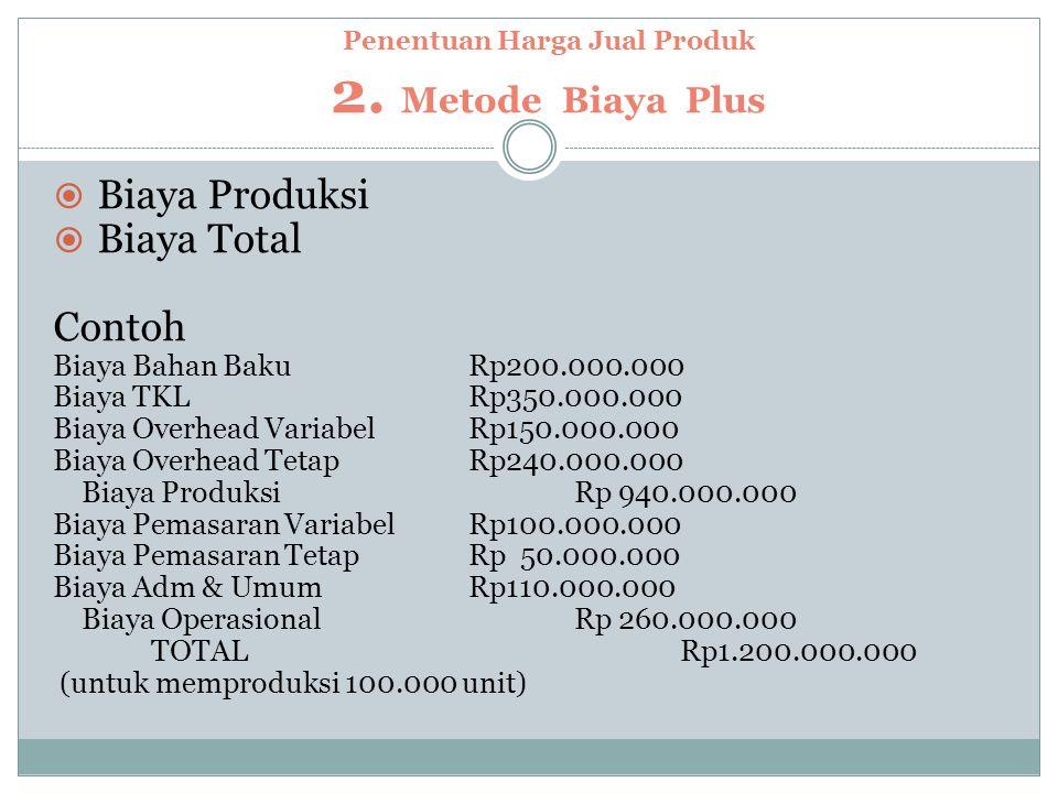 Penentuan Harga Jual Produk 2. Metode Biaya Plus