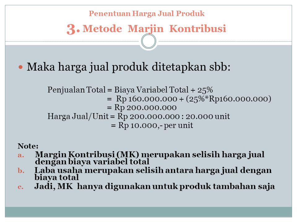 Penentuan Harga Jual Produk 3. Metode Marjin Kontribusi
