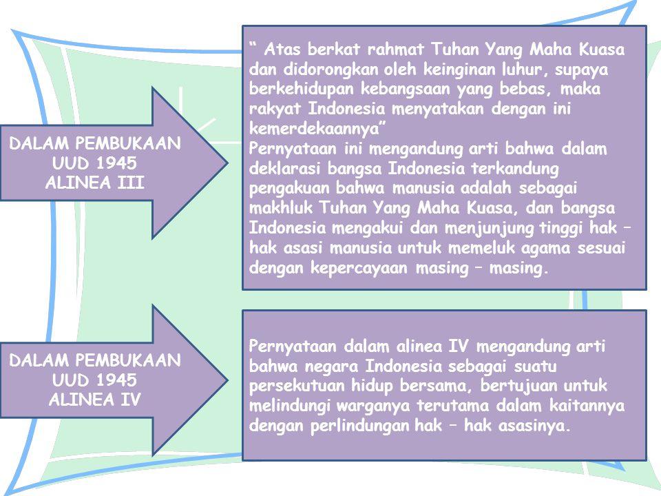 Atas berkat rahmat Tuhan Yang Maha Kuasa dan didorongkan oleh keinginan luhur, supaya berkehidupan kebangsaan yang bebas, maka rakyat Indonesia menyatakan dengan ini kemerdekaannya