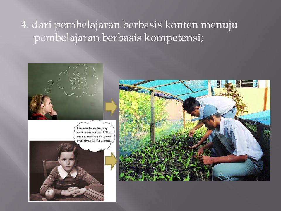 4. dari pembelajaran berbasis konten menuju pembelajaran berbasis kompetensi;