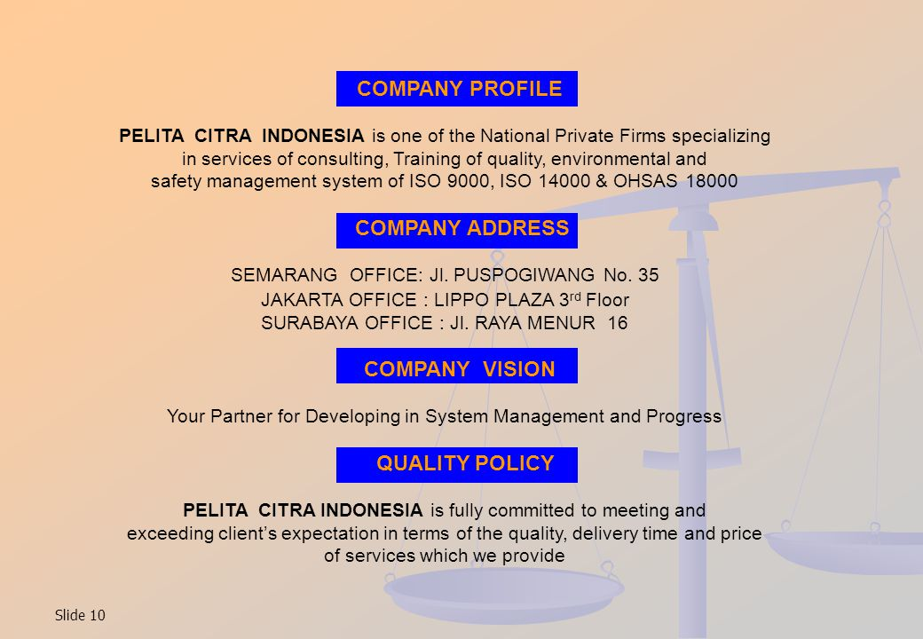 COMPANY PROFILE COMPANY ADDRESS COMPANY VISION QUALITY POLICY